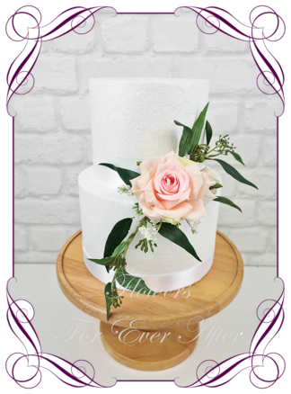 Silk artificial rustic boho pink roses baby's breath and gum leaves wedding engagement cake topper decoration. Made in Melbourne Australia by Australia's best silk florist.