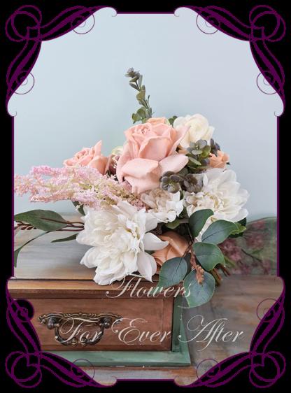 Silk artificial nude champagne blush pink wedding bridal bouquet flowers. Native Australian silk wedding florals, unusual romantic realistic fake wedding flowers. Made in Melbourne Australia. Buy online..