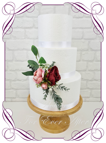 Silk artificial wedding engagement birthday cake flowers decoration. Native Australian dusty pink and burgundy floral cake design. Made in Melbourne. Buy online