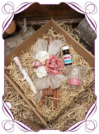 Floral Cinnamon Stick Bundle Hamper, add your own gifts to your custom created floral cinnamon sticks. Choose from our huge range of silk wedding flower designs for the perfect colours and styles in the highest quality artificial flowers.Made in Melbourne by australias best wedding florist.