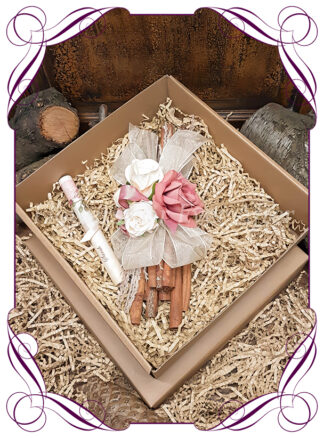 Floral Cinnamon stick bundle custom decorated to suit your choice of our wedding bouquet design ranges in artificial flowers. Made in melbourne by australia's best wedding florist.