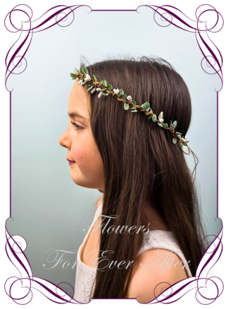 Silk artificial faux ivory white and green hair halo / crown design. Dainty sweet simple hair crown wreath for flowergirl, bridesmaid bride, bridal hair ideas. Made in Melbourne by Australia's best wedding florist. Buy online.