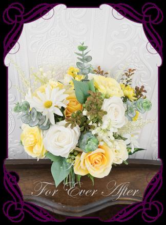 Silk artificial yellow ivory daisy wedding bridal bouquet flowers. Native Australian silk wedding florals, unusual romantic realistic fake wedding flowers. Made in Melbourne Australia. Buy online..