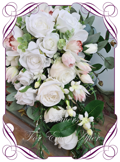 Silk artificial natives and roses white and blush tear bouquet, wedding bridal bouquet flowers. Native Australian silk wedding florals, unusual romantic realistic fake wedding flowers. Made in Melbourne Australia. Buy online..