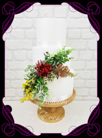 Silk artificial wedding engagement birthday cake flowers decoration. Native Australian floral cake design. Made in Melbourne. Buy online