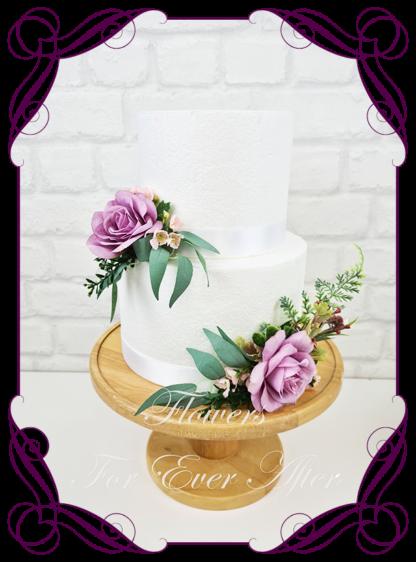 Silk artificial wedding engagement birthday cake flowers decoration. Light purple floral cake design. Made in Melbourne. Buy online