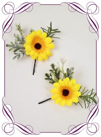 Silk artificial sunflower yellow daisy hair pins, floral hair pins, sunflower hair flowers. Made in Melbourne. Shipping worldwide.