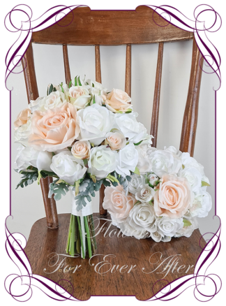 Silk artificial wedding bouquet ideas. Mixed ivory white blush peach apricot faux silk bridal bouquet wedding posy set flowers. Roses, peonies. Elegant romantic wedding posy bouquet. Made in Melbourne. Buy online. Shipping worldwide.