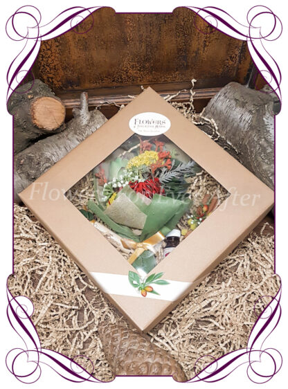 Silk Flower gift hamper with silk flowers custom created to order, perfect gifts for anniversary, birthday, thinking of you, bridesmaids and more, Created by australia's best wedding florist. Made in Melbourne.