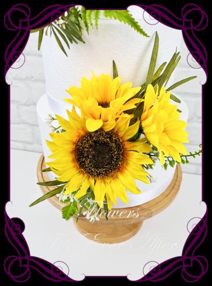 Silk artificial wedding engagement birthday cake flowers decoration. Sunflower floral cake design. Made in Melbourne. Buy online