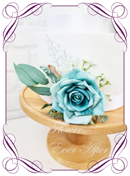 Silk artificial wedding engagement birthday cake flowers decoration. Turquoise floral cake design. Made in Melbourne. Buy online