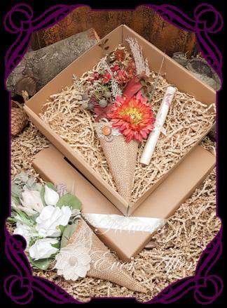 Silk Flower mini posy arrangement in burlap pocket, unique flower gift for her, sympathy gift, birthday flowers, bridesmaids gift, anniversary present. Made in Melbourne by Australia's Best Wedding Florist. Buy Online Now.
