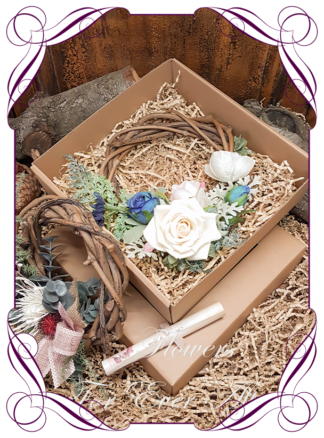 Silk flower mini wreath floral gift arrangements. Bespoke gifts for her with personalised letter. Made in Melbourne by Australia's best bridal florist. Delivery Worldwide.
