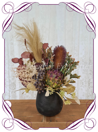Silk artificial home office table gift decor arrangement. Australian natives banksia, pampas and gum nuts.. Buy online for birthday present, lockdown gift. Made in Melbourne