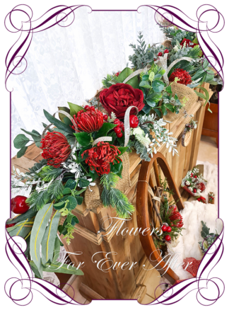 Aussie Christmas Red white champagne green Artificial floral Christmas Garland Centrepiece for table décor or mantel, featuring artificial red australian native florals, silk roses and artificial eucalyptus and pinefoliage's. Made by Melbourne's Best Silk Bridal Florist creating unique artificial wedding flower packages. Delivery worldwide. Custom orders welcome.