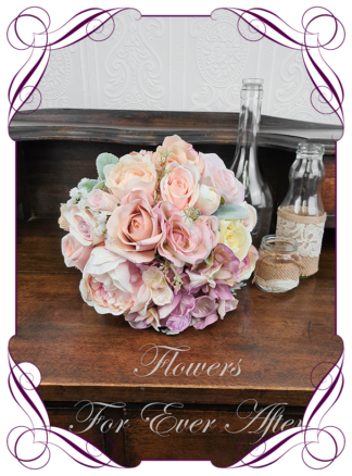 Silk artificial wedding bouquet ideas. Mixed pastel and blush pink faux silk bridal bouquet wedding posy set flowers. Roses, hydrangea, peonies. Elegant romantic wedding posy bouquet. Made in Melbourne. Buy online. Shipping worldwide.