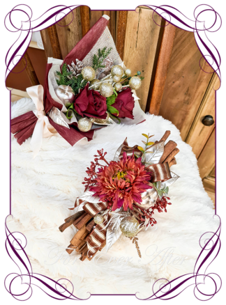 Christmas Floral Cinnamon Stick Hamper, artificial silk flowers by melbournes best wedding florist. Amazing christmas cinnamon stick bundles with personalised message and added gift. Melbournes best silk bridal florist. Delivery worldwide.