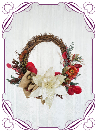 Rustic ivory burnt naturals christmas wreath Artificial floral Christmas wreath for door or wall, featuring artificial ivory poinsettia, burgundy flowers and artificial foliage's, burlap. Made by Melbourne's Best Silk Bridal Florist creating unique artificial wedding flower packages. Delivery worldwide. Custom orders welcome.