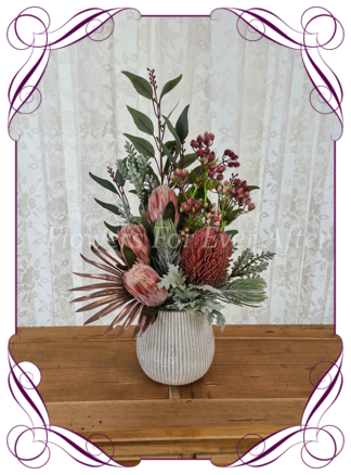 Silk artificial home office table gift decor arrangement. Australian natives dusty pink protea and banksia. Buy online for birthday present, lockdown gift. Made in Melbourne