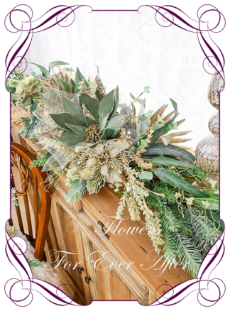 Green Gold Artificial floral Christmas Garland Centrepiece for table décor or mantel, featuring artificial green poinsettias, gold poinsettia, pampas, berries and artificial foliage's. Made by Melbourne's Best Silk Bridal Florist creating unique artificial wedding flower packages. Delivery worldwide. Custom orders welcome.